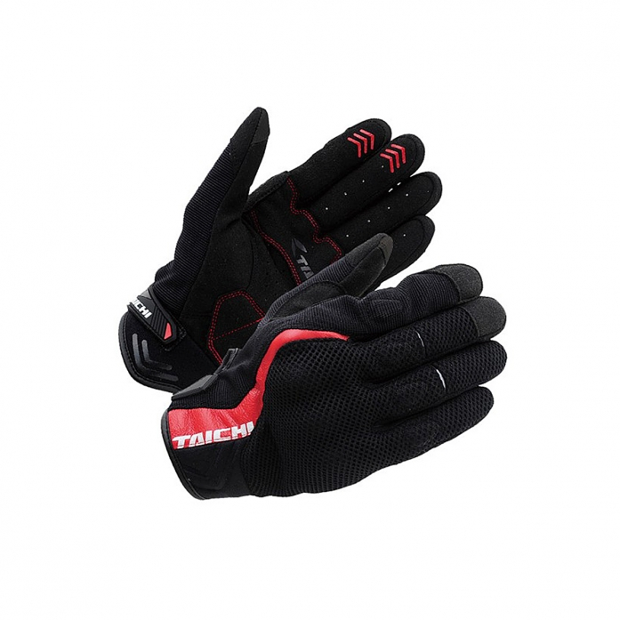 RS타이치 RST431 RUBBER KNUCKLE MESH GLOVE BLACK/RED